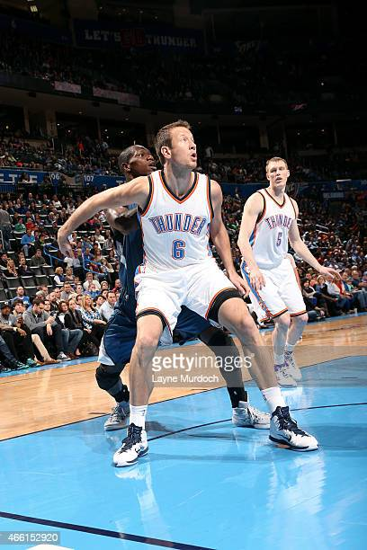 Steve Novak of the Oklahoma City Thunder battles for position against Gorgui Dieng of the Minnesota Timberwolves on March 13 2015 at the Chesapeake...
