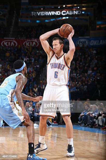 Steve Novak of the Oklahoma City Thunder handles the ball against the Denver Nuggets on February 22 2015 at the Chesapeake Energy Arena in Oklahoma...
