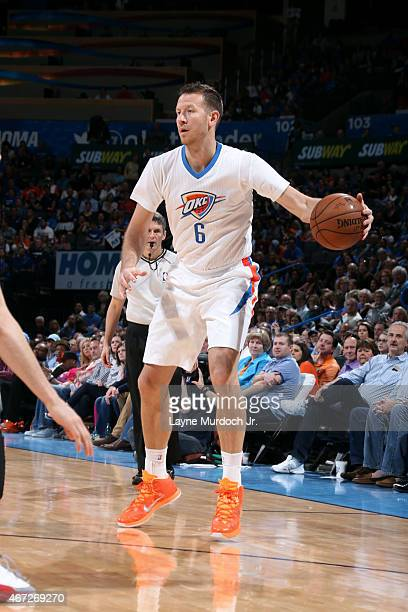Steve Novak of the Oklahoma City Thunder handles the ball against the Miami Heat on March 22 2015 at Chesapeake Energy Arena in Oklahoma City...