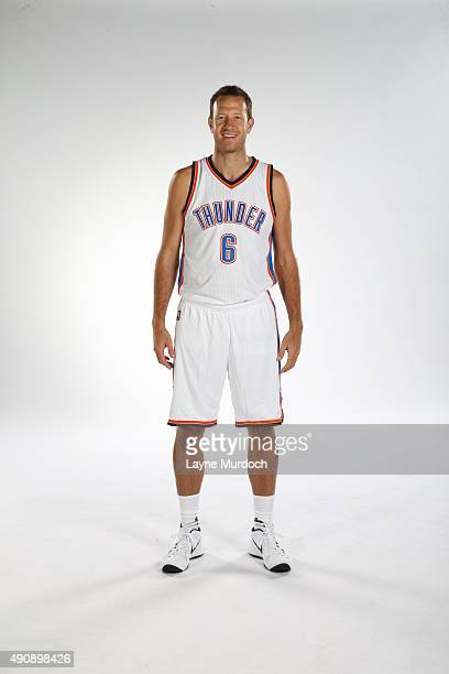Steve Novak of the Oklahoma City Thunder poses for a portrait during 2015 NBA Media Day on September 28 2015 at the Thunder Events Center in Edmond...