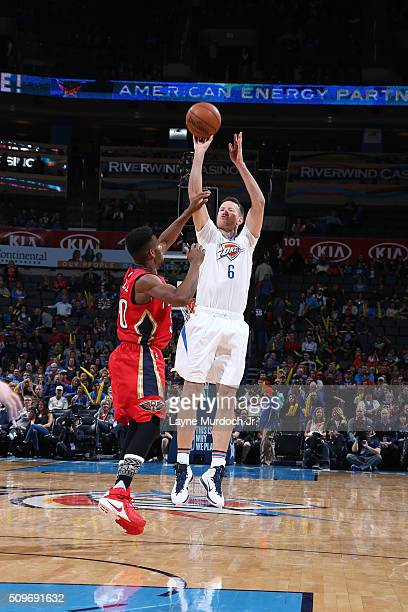 Steve Novak of the Oklahoma City Thunder shoots the ball against the New Orleans Pelicans on February 11 2016 at the Chesapeake Energy Arena in...