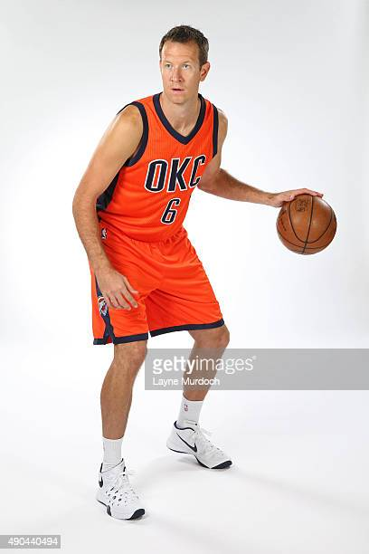 Steve Novak of the Oklahoma Thunder poses with the team's new Sunset uniform on September 23 2015 at the Integris Health Thunder Development Center...