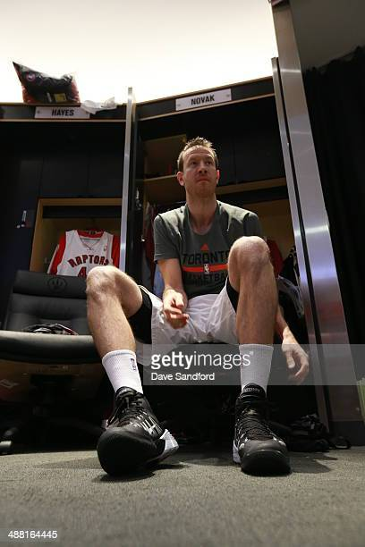 Steve Novak of the Toronto Raptors prepares in the locker room before Game seven of the Quarterfinal NBA Eastern Conference playoff game against the...