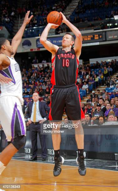 Steve Novak of the Toronto Raptors shoots a three pointer against the Sacramento Kings on February 5 2014 at Sleep Train Arena in Sacramento...