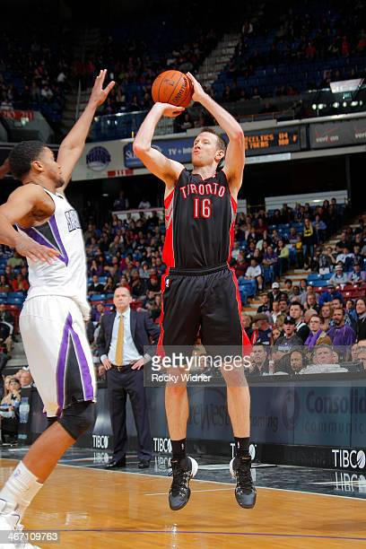 Steve Novak of the Toronto Raptors shoots against the Sacramento Kings on February 5 2014 at Sleep Train Arena in Sacramento California NOTE TO USER...