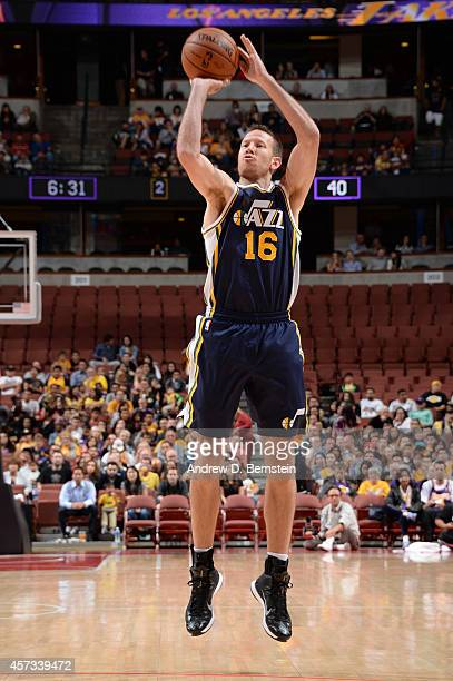 Steve Novak of the Utah Jazz shoots during a game against the Los Angeles Lakers at Honda Center on October 16 2014 in Anaheim California NOTE TO...