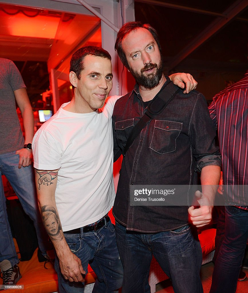 Steve O and <a gi-track='captionPersonalityLinkClicked' href=/galleries/search?phrase=Tom+Green&family=editorial&specificpeople=208982 ng-click='$event.stopPropagation()'>Tom Green</a> during Andrea's Grand Opening after party at Surrender Nightclub in Wynn Las Vegas on January 16, 2013 in Las Vegas, Nevada.