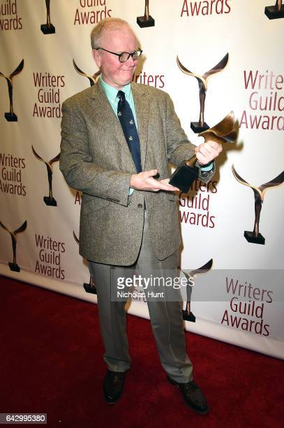 Steve O'Donnell poses with award backstage during 69th Writers Guild Awards New York Ceremony at Edison Ballroom on February 19 2017 in New York City