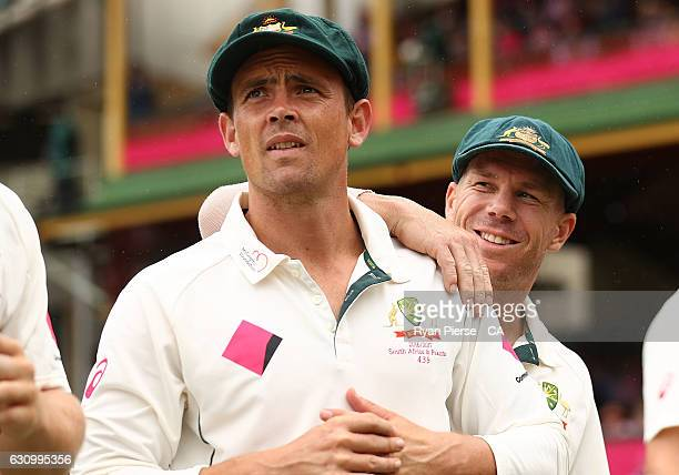Steve O'Keefe and David Warner of Australia look on during day three of the Third Test match between Australia and Pakistan at Sydney Cricket Ground...