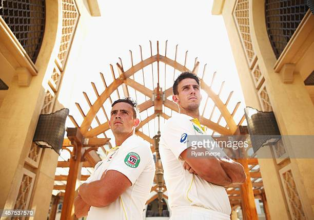 Steve O'Keefe and Mitch Marsh of Australia pose at the Souk Al Bahar on October 20 2014 in Dubai United Arab Emirates