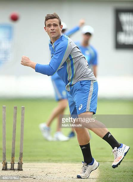 Steve O'Keefe bowls during an Australian training session on January 1 2017 in Sydney Australia