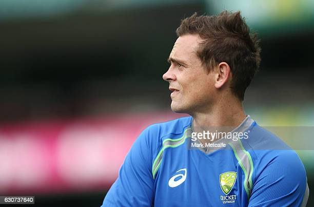 Steve O'Keefe looks on during an Australian training session on January 1 2017 in Sydney Australia