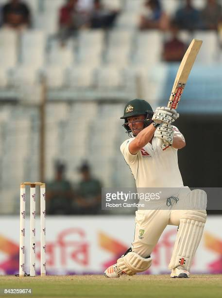Steve O'Keefe of Australia bats during day three of the Second Test match between Bangladesh and Australia at Zahur Ahmed Chowdhury Stadium on...
