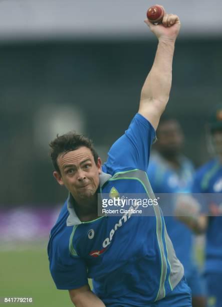 Steve O'Keefe of Australia bowls during an Australia nets session at Zahur Ahmed Chowdhury Stadium on September 2 2017 in Chittagong Bangladesh
