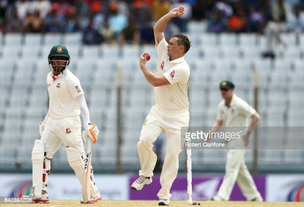 Steve O'Keefe of Australia bowls during day one of the Second Test match between Bangladesh and Australia at Zahur Ahmed Chowdhury Stadium on...