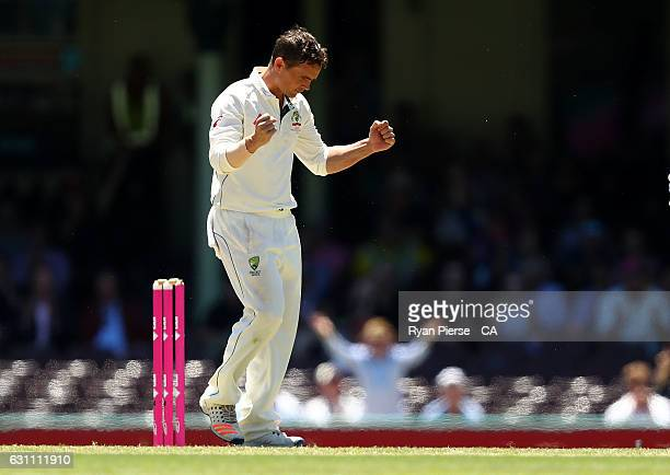 Steve O'Keefe of Australia celebrates after taking the wicket of MisbahulHaq of Pakistan during day five of the Third Test match between Australia...