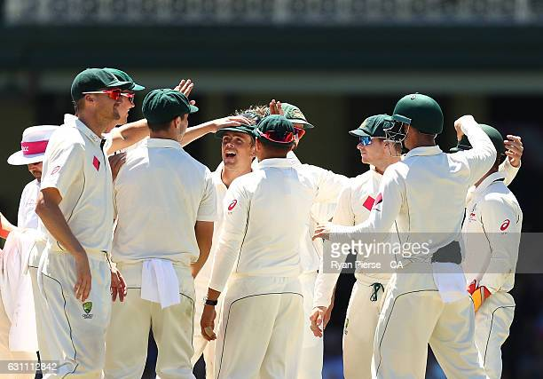 Steve O'Keefe of Australia celebrates after taking the wicket of Wahab Riaz of Pakistan during day five of the Third Test match between Australia and...