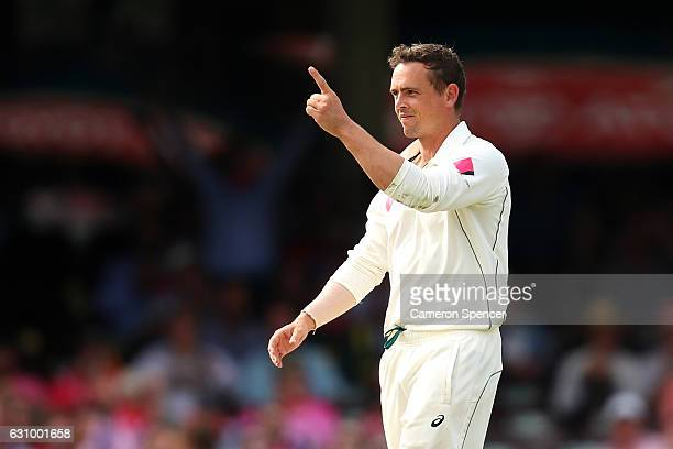Steve O'Keefe of Australia celebrates dismissing Asad Shafiq of Pakistan during day three of the Third Test match between Australia and Pakistan at...