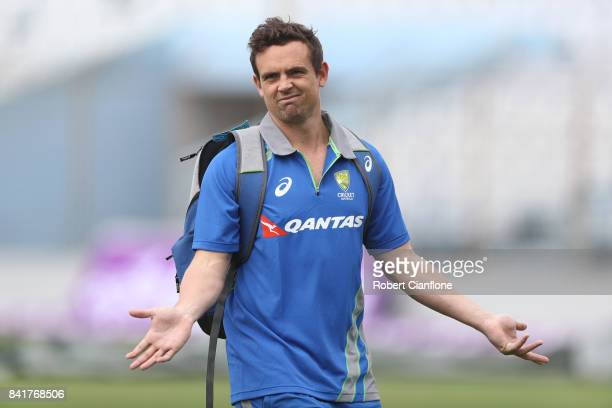 Steve O'Keefe of Australia gestures after checking the pitch during an Australia nets session at Zahur Ahmed Chowdhury Stadium on September 2 2017 in...