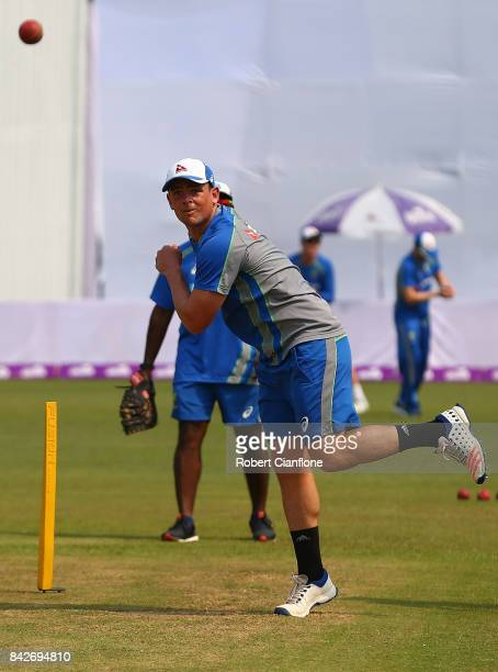 Steve O'Keefe of Australia warms up during day two of the Second Test match between Bangladesh and Australia at Zahur Ahmed Chowdhury Stadium on...