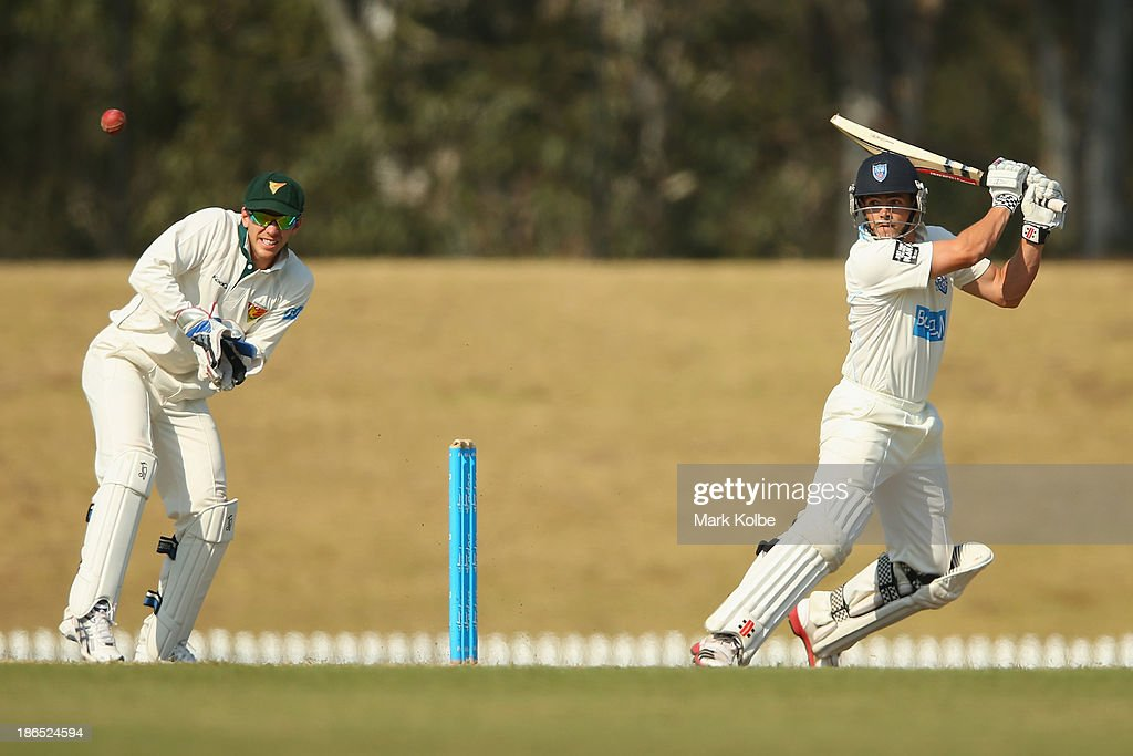 Steve O'Keefe of the Blues bats during day three of the Sheffield Shield match between the New South Wales Blues and the Tasmania Tigers at Blacktown International Sportspark on November 1, 2013 in Sydney, Australia.