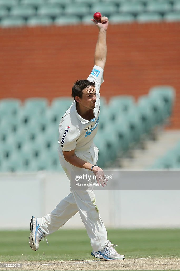 Steve O'Keefe of the Blues bowls during day three of the Sheffield Shield match between the South Australian Redbacks and the New South Wales Blues at Adelaide Oval on February 21, 2013 in Adelaide, Australia.