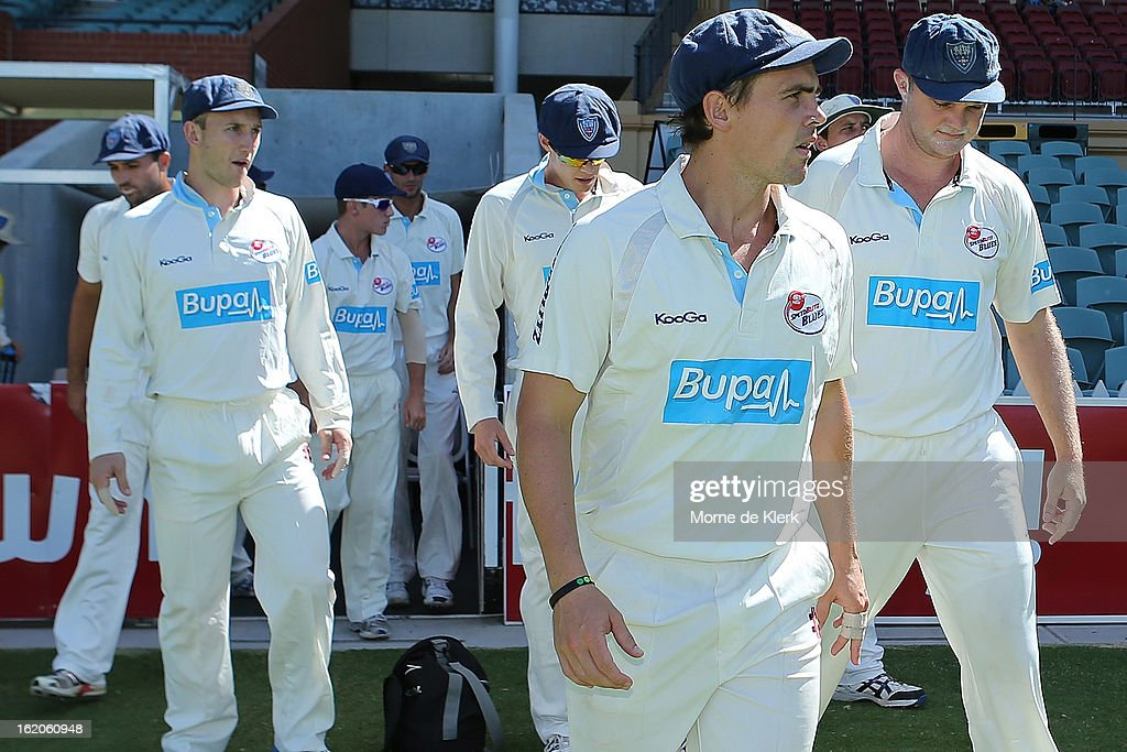 Steve O'Keefe of the Blues leads the team onto the oval during day one of the Sheffield Shield match between the South Australian Redbacks and the New South Wales Blues at Adelaide Oval on February 19, 2013 in Adelaide, Australia.