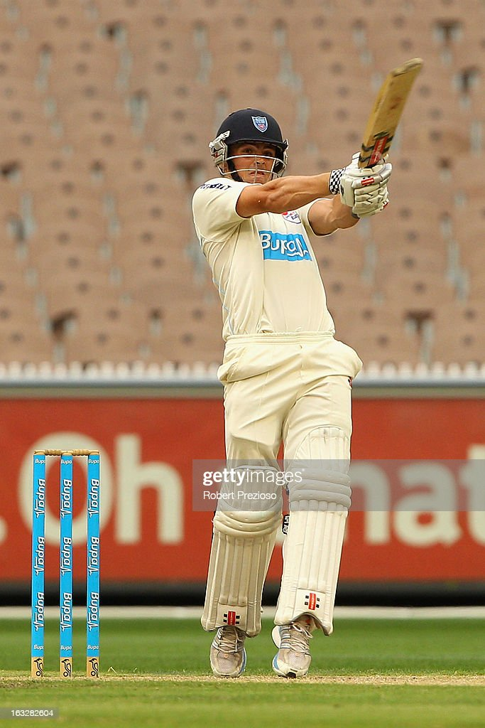 Steve O'Keefe of the Blues plays a shot during day one of the Sheffield Shield match between the Victorian Bushrangers and the New South Wales Blues at Melbourne Cricket Ground on March 7, 2013 in Melbourne, Australia.