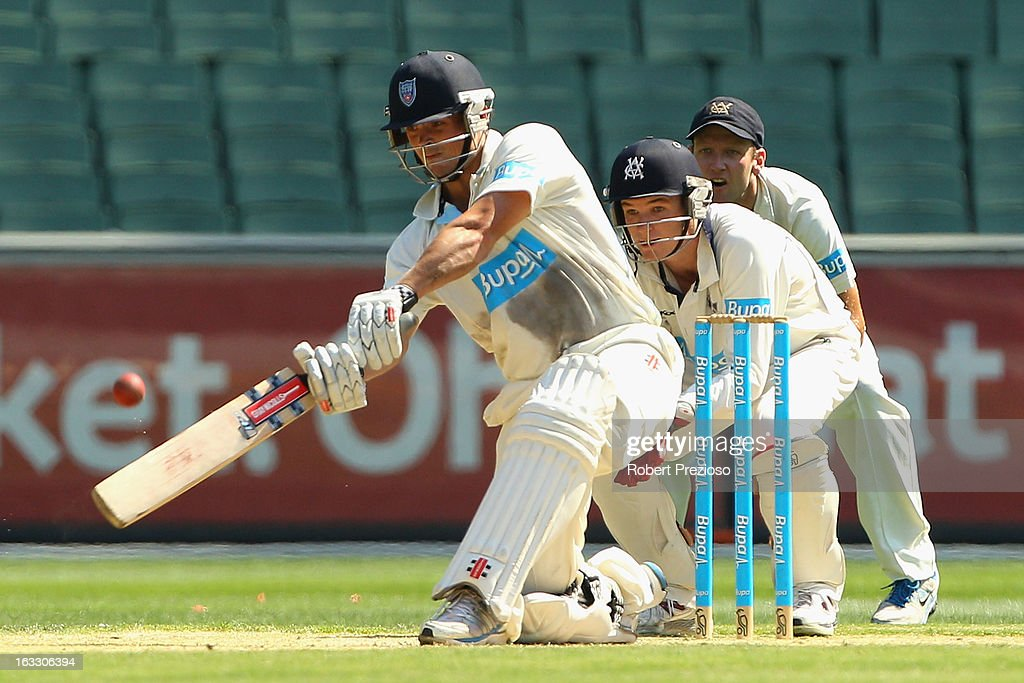 Steve O'Keefe of the Blues plays a shot during day two of the Sheffield Shield match between the Victorian Bushrangers and the New South Wales Blues at Melbourne Cricket Ground on March 8, 2013 in Melbourne, Australia.
