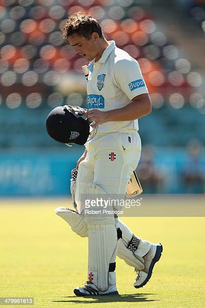 Steve O'Keefe of the Blues walks off after being dismissed by Jason Behrendorff of the Warriors during day two of the Sheffield Shield match between...