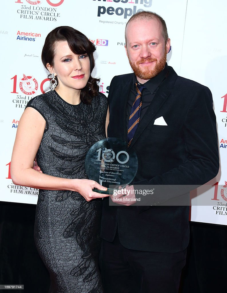 Steve Oram and Alice Lowe poses in the press room at the London Film Critics Circle Film Awards at The Mayfair Hotel on January 20, 2013 in London, England.