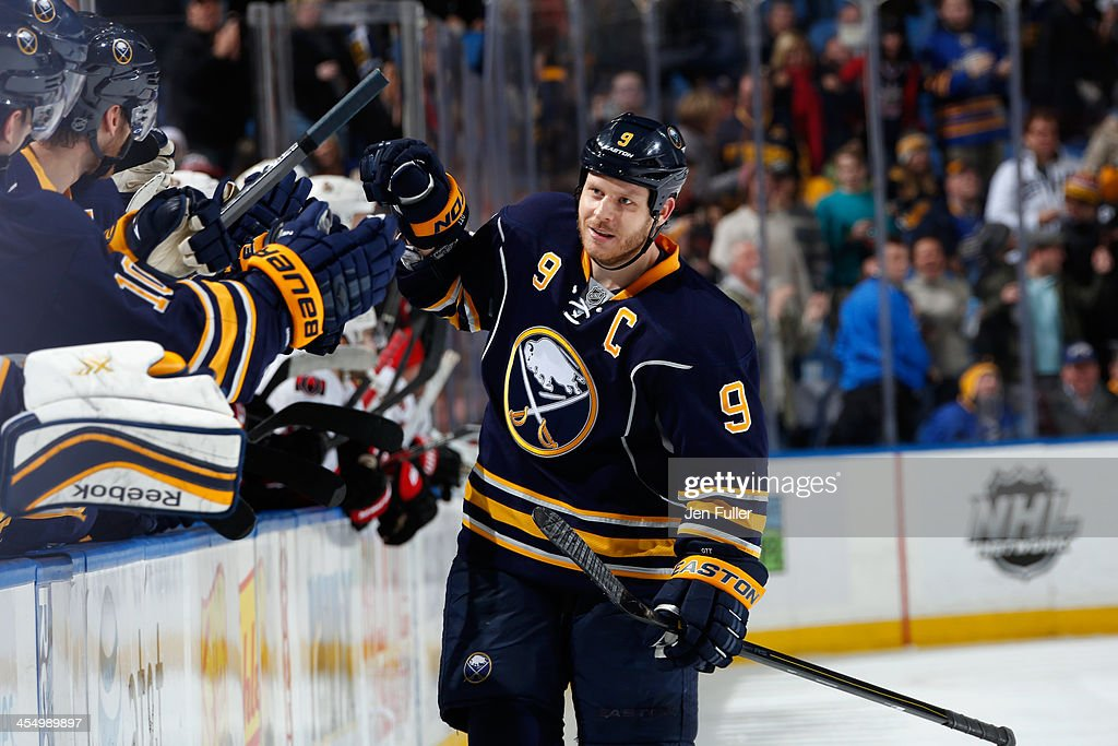 <a gi-track='captionPersonalityLinkClicked' href=/galleries/search?phrase=Steve+Ott&family=editorial&specificpeople=210616 ng-click='$event.stopPropagation()'>Steve Ott</a> #9 of the Buffalo Sabres celebrates a shootout goal against the Ottawa Senators at First Niagara Center on December 10, 2013 in Buffalo, New York. Buffalo defeated Ottawa 2-1.
