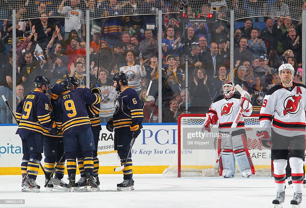 <a gi-track='captionPersonalityLinkClicked' href=/galleries/search?phrase=Steve+Ott&family=editorial&specificpeople=210616 ng-click='$event.stopPropagation()'>Steve Ott</a> #9 of the Buffalo Sabres celebrates his second period goal against <a gi-track='captionPersonalityLinkClicked' href=/galleries/search?phrase=Martin+Brodeur&family=editorial&specificpeople=201594 ng-click='$event.stopPropagation()'>Martin Brodeur</a> #30 of the New Jersey Devils on April 7, 2013 at the First Niagara Center in Buffalo, New York.