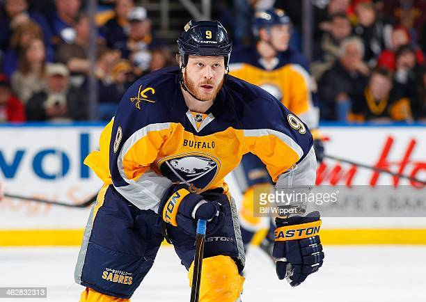 Steve Ott of the Buffalo Sabres skates against the New Jersey Devils on January 4 2014 at the First Niagara Center in Buffalo New York