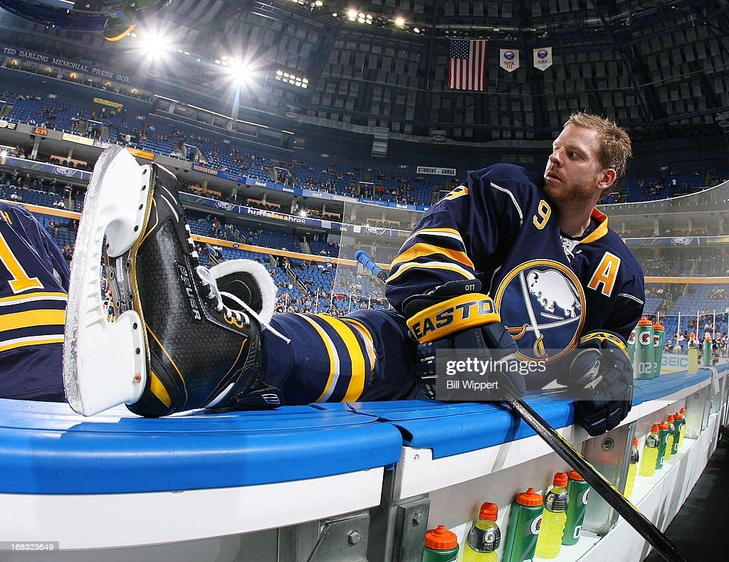 Steve Ott #9 of the Buffalo Sabres stretches before playing the New York Islanders on April 26, 2013 at the First Niagara Center in Buffalo, New York.