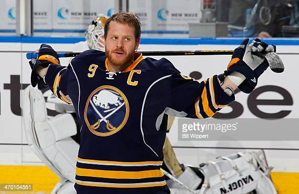 Steve Ott of the Buffalo Sabres stretches before playing the Pittsburgh Penguins on February 5 2014 at the First Niagara Center in Buffalo New York
