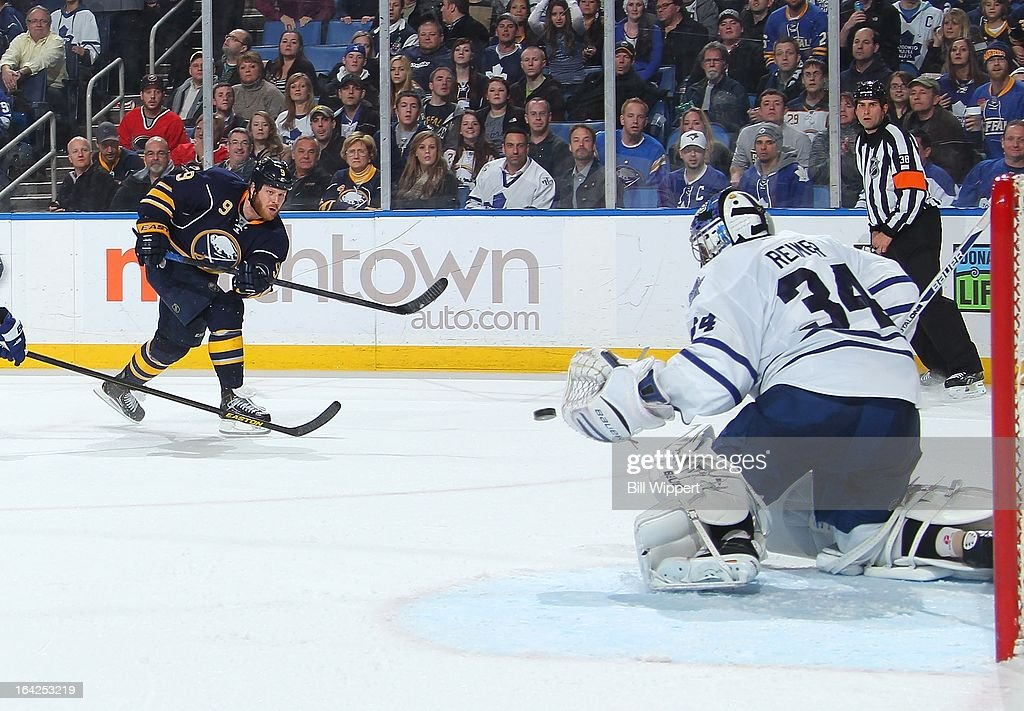 Steve Ott #9 of the Buffalo Sabres takes a third-period shot against James Reimer #34 of the Toronto Maple Leafs on March 21, 2013 at the First Niagara Center in Buffalo, New York. Buffalo defeated Toronto, 5-4.