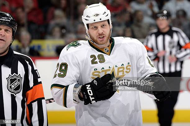 Steve Ott of the Dallas Stars skates against the Calgary Flames on January 21 2011 at the Scotiabank Saddledome in Calgary Alberta Canada