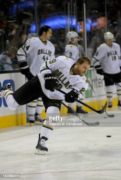 Steve Ott of the Dallas Stars skates in warm ups before the game against the San Jose Sharks at HP Pavilion at San Jose on March 31 2012 in San Jose...