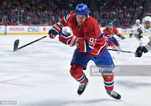 Steve Ott of the Montreal Canadiens skates for position against the Chicago Blackhawks in the NHL game at the Bell Centre on March 14 2017 in...