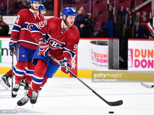 Steve Ott of the Montreal Canadiens skates the puck during the warmup prior to the NHL game against the Chicago Blackhawks at the Bell Centre on...