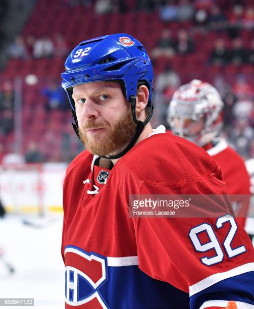 Steve Ott of the Montreal Canadiens warms up prior to the NHL game against the Chicago Blackhawks at the Bell Centre on March 14 2017 in Montreal...