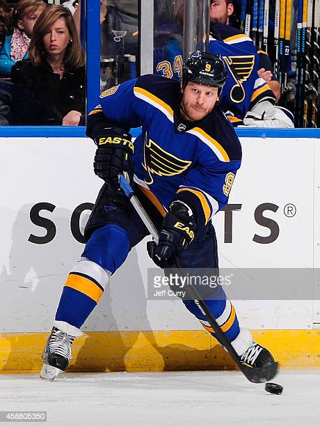 Steve Ott of the St Louis Blues shoots against Colorado Avalanche on November 1 2014 at Scottrade Center in St Louis Missouri