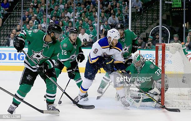 Steve Ott of the St Louis Blues shoots the puck against Kari Lehtonen of the Dallas Stars in the second period in Game One of the Western Conference...