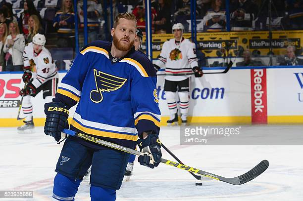 Steve Ott of the St Louis Blues skates prior to Game Two of the Western Conference First Round during the 2016 NHL Stanley Cup Playoffs against the...