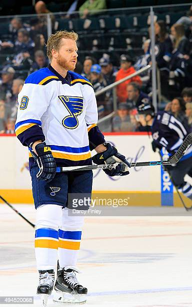 Steve Ott of the St Louis Blues takes part in the pregame warm up prior to NHL action against the Winnipeg Jets at the MTS Centre on October 18 2015...