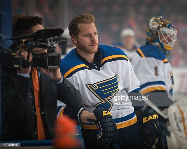 Steve Ott of the St Louis Blues warms up prior to a game against the Edmonton Oilers on October 15 2015 at Rexall Place in Edmonton Alberta Canada