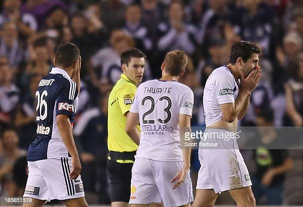 Steve Pantelidis of the Glory is sent off by referee Jarred Gillett as Andrew Nabbout of the Victory looks on during the ALeague Elimination final...