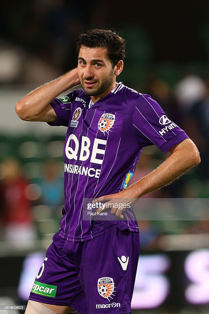 Steve Pantelidis of the Glory looks on after being defeated during the round seven A-League match between Perth Glory and the Central Coast Mariners at nib Stadium on November 23, 2013 in Perth, Australia.