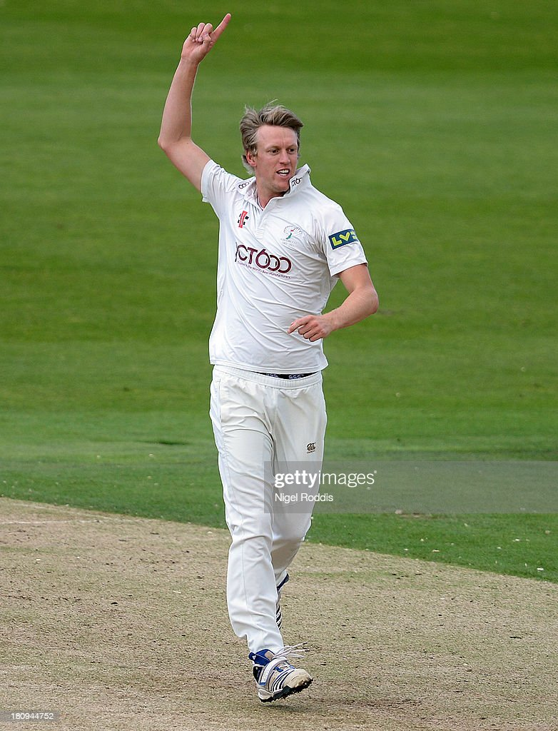 Steve Patterson of Yorkshire celebrates taking the wicket of Joe Denly Of Middlesex during day two of the LV County Championship Division One match between Yorkshire and Middlesex at Headingley Stadium on September 18, 2013 in Leeds, England.